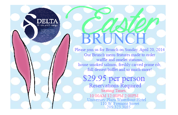 Delta Bistro Easter Sunday Brunch Stockton